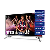 TD Systems K32DLJ12HS - Televisores Smart TV 32 Pulgadas HD Android 9.0 y HBBTV, 800 PCI Hz, 3X HDMI, 2X USB....