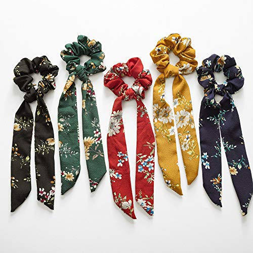 Beauty Wig World 5Pcs Floral Print Scarf Scrunchie Silk Satin Hair Scarves Elastic Hair Bands Bohemian Style Ponytail Holder Ties Vintage Hair Accessories for Women Girls