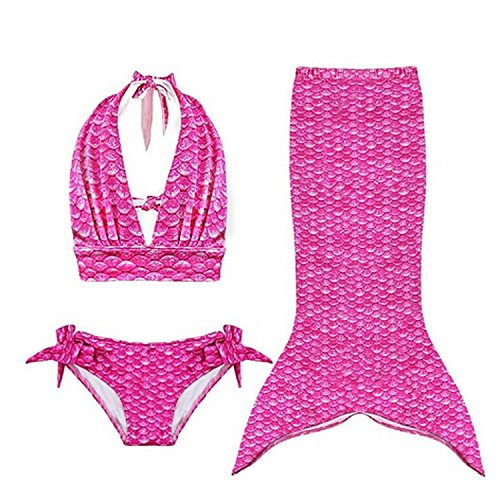 Bigood Bikini Ensemble Fille Maillot de Bain Sirène Déguisement Photographie Plage Mode Rose Rouge Tour Fesse 71cm