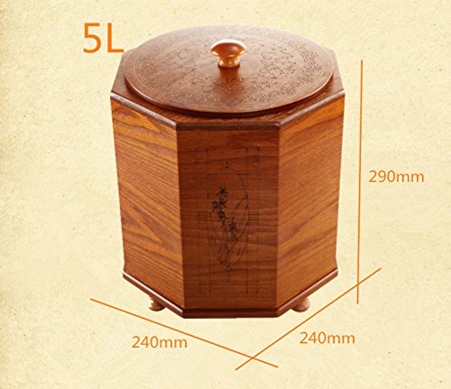 DW&ACCDB Protection de l'Environnement Poubelle Matériaux naturels,Style Chinois Décoration Personnalité Simplicité 8l Poubelle 100% Bois-A 5L