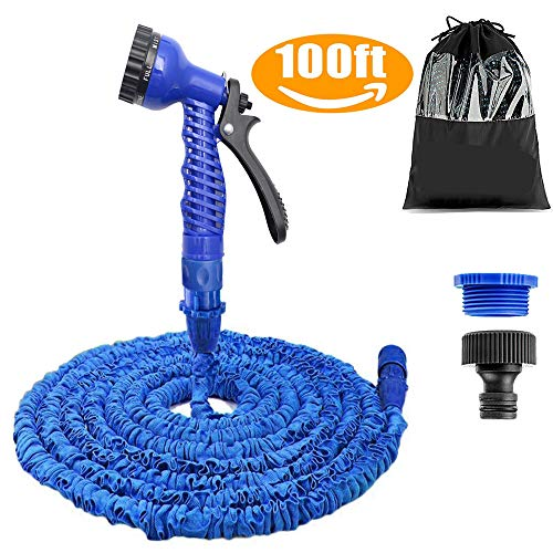 AILUZE 100FT Garden Hose,Expanding Garden Water Hose Pipe with 7 Function Spray Gun, 3 Times Expandable Watering Hose ,Flexible Magic Hose Anti-leakage Lightweight Easy Storage(Blue)
