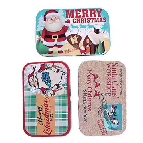 Amosfun Jul vit plåt plåtburk kakburkar godis kakor burkar burkar presentask choklad te smycken 3 stycken (röd)