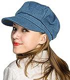 WETOO Women Washed Denim Newsboy Cap Beret Cap Bakerboy Hat Paper Boy Hat