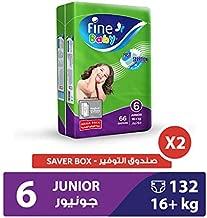 Fine Baby Diapers Smart Lock, Junior 16+ Kgs, Mega Pack, 132 Count