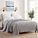 Sweet Home Collection 100% Fine Cotton Blanket Luxurious Breathable Weave Stylish Design Soft and Comfortable All Season Warmth, Full/Queen, Silver