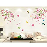 モモの花 鳥 蝶 ウォールステッカー 壁 シール 花 ウォールペーパー 壁紙 ウォールシール 60*90cm*1枚