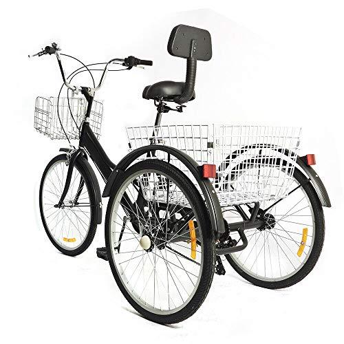 Bicicletta da 24 pollici, 7 marce, pieghevole, per adulti e adulti, con cestino, 3 biciclette, per adulti, triciclo, comfort e sport all'aria aperta (non pieghevole)
