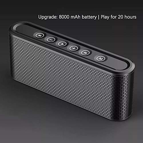 fangfaner - Altavoz portátil Bluetooth para exteriores ultra portátil con hora de reproducción, sonido estéreo, bajos extra, soporte, asistente de voz Negro