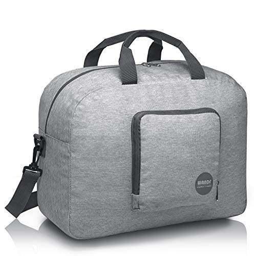 16' Foldable Duffle Bag 20L for Travel Gym Sports Packable Lightweight Luggage Duffel Water-resistant By WANDF (Light Grey 16', 16 inches (20 Liter))