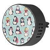2pcs Difusor de aromaterapia Difusor de aceite esencial para automóvil Clip de ventilación Patrón sin costuras con pingüinos