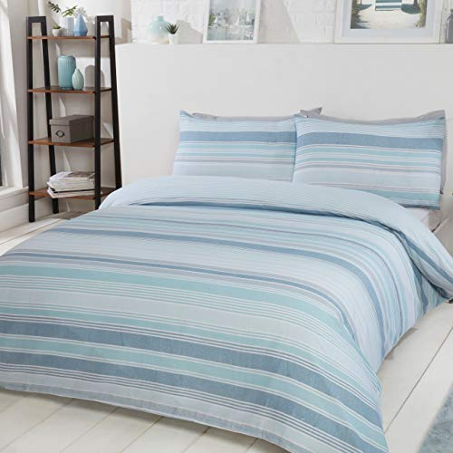 Sleepdown Chambray Stripe Blue Reversible Soft Duvet Cover Quilt Bedding Set With Pillowcases - Double (200cm x 200cm)