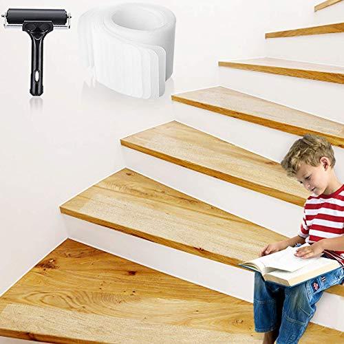 Bojim - Cinta adhesiva antideslizante para escaleras, 10 x 80 cm, juego de alfombrillas para escaleras antideslizantes, protección antideslizante con rodillo, tiras antideslizantes