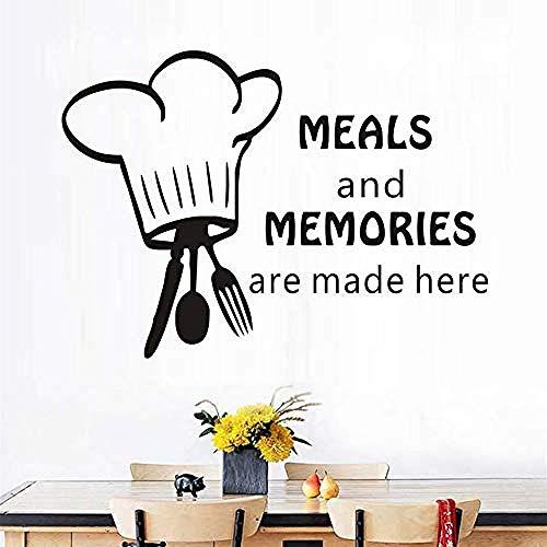 Muurstickers hier servies en herinneringen servies en chef-kok hoed muur Applique Vinyl keuken tegel muur decoratie Stickers Waterdichte Home Decoratie 59X43Cm