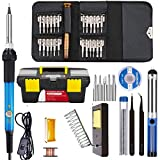 Techtest Corslet 15 in 1 Soldering Iron Kit Adjustable Temperature 5 Tips and More in Toolbox with 25 in 1 Screw Driver Set for Mobile , Watch and Laptop Repair -40 Pack