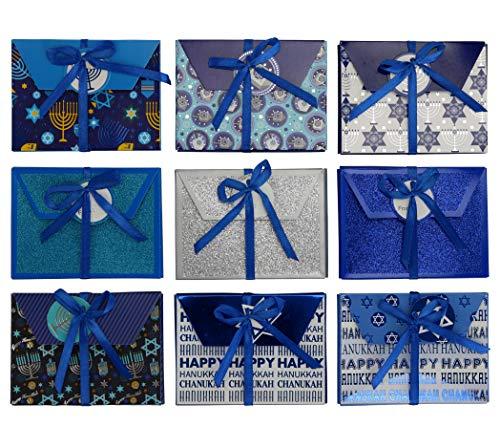 Iconikal Hanukkah Foil and Ribbon Embellished Gift Card Boxes, Set of 9
