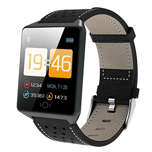 Yivise Unisex Reloj de Ritmo Cardíaco Calorías de Presión Arterial para Exteriores Impermeable Inteligente Actividad Física Rastreador Deportes Relojes(A)
