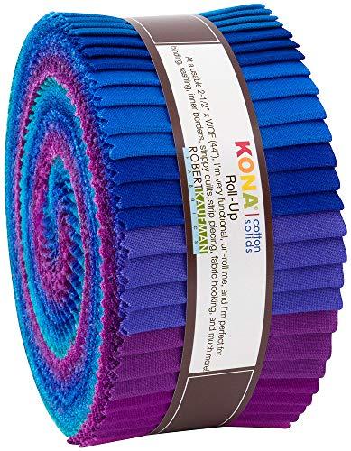 """Robert Kaufman Kona Cotton Solids Peacock Roll Up 2.5"""" Precut Cotton Fabric Quilting Strips Jelly Roll Assortment RU-770-40"""