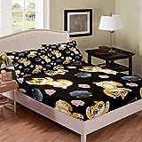 richhome Juego de sábanas de dibujos animados con diseño de gato, color negro, para niños, ropa de cama, 3 piezas