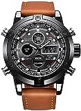 ZFAYFMA Reloj digital deportivo para hombre, de piel, de cuarzo, analógico, digital, LED, fecha, reloj deportivo, casual, barato, regalo, Mujer Unisex Niños, marrón