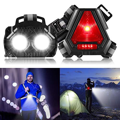 Greenclick Lauflicht, Lauflampe Joggen, LED brustlampe Laufen, 90° Einstellbarer, USB Wiederaufladbare Wasserdicht Brustlicht Running Light Jogging Licht für Laufen Angeln Wandern Camping Fischen