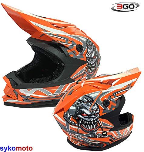 3GO X10-K Grafische Kinderhelm Oranje Motorcross Quad ATV Dirt Enduro Kinder Off-Road Fietsbeschermer (S (47-48 CM))