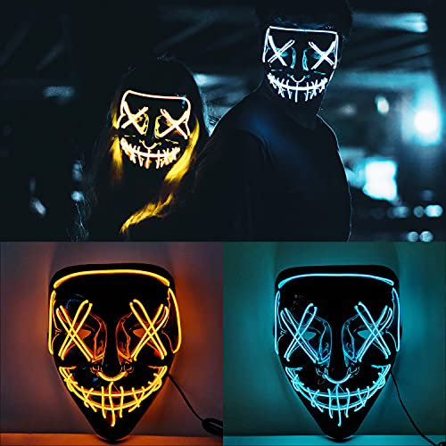 Faffooz 2 Piezas LED Máscaras Halloween Máscara de Terror LED LED Máscaras...