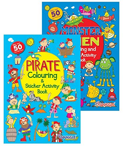 Squiggle - A4 Pirates, Monsters & Aliens Colouring, Activity + Sticker Books - Set of 2 Books