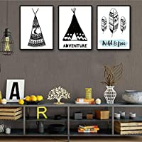 Abstract Feather Letter Posters Black and White Canvas Painting Wall Pictures Modern Living Room Home Decoration Mural 40x50x3cm Frameless
