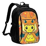 Popular Anime Pikachu Charmander Travel Laptop Backpack Fashion Classic Bookbag Adjustable Shoulder Strap School Bookbag With Usb Charging Port Lightweight Laptop Bag For Boys