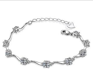 Epoch World Womens Bracelet Silver Bracelet Plated Diamond Adjustable Bracelet for Girls Charm Wave Bamboo Bracelet Set Br...