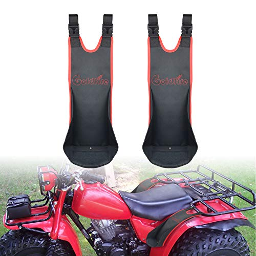 Goldfire 2 Pcs ATV Rear Passenger Foot Pegs Universal Adjustable Foldable Heavy Duty 1680D Oxford Cloth Wear-resistant Foot Rest Compatible for Polaris Sportsman H-onda Foreman (Red Piping)