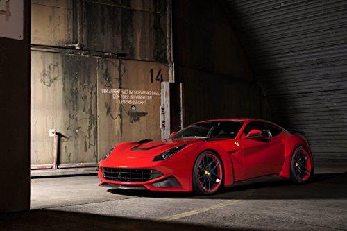 """Novitec N-Largo based on Ferrari F12berlinetta (2013) Car Art Poster Print on 10 mil Archival Satin Paper Red Front Side Static View 36""""x24"""""""