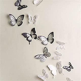 18 Piezas 3D Mariposa Pegatinas de Pared Adhesivo Etiquetas Mariposas Decoración de la Pared Para Casa Habitación Negro Blanco