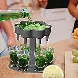 NO/A 6-Schnapsglas-Spender und Halter-Set - Spender zum Befüllen von Flüssigkeiten, Weinbecherspender, Mehrfach-6-Schuss-Spender, Bar-Schnaps-Spender,...