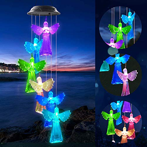 GREKEE Solar Angel Wind Chimes LED Color Changing Solar Wind Chime Light Mobile Waterproof Hanging Patio Light Romantic Outdoor Decoration for Home Party Yard Porch Garden
