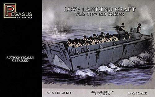 LCVP Landing Craft w/Pre-Painted Water Base, 15-Soldiers & 3-Crew (Snap Kit) 1-72 Pegasus