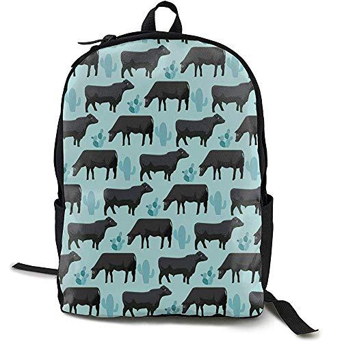 Mochila Escola,Black Angus Cattle Animal Cactus Mochila Azul Mochilas De Hombro para Adultos Útiles para Adultos Al Aire Libre Gimnasio