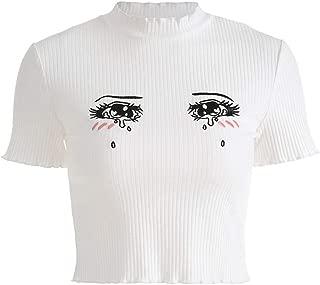 malianna Women Cute Printed T-Shirts Harajuku Kawaii Short Sleeve Crop Tees