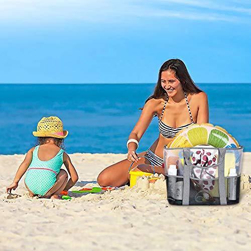 YOOFAN Bolsa de la Playa-Bolsa Grande de Malla de Playa-Gran Mercado Ligero para Almacenamiento Juguetes Lavable y Transpirable, para la Playa, Natacición, Camping