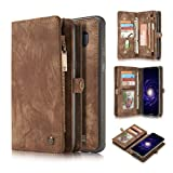 KONKY Caseme Samsung Galaxy S8 Wallet Case, Magnetic Detachable Removable Phone Cover Pouch Folio Durable Leather Purse Flip Card Pockets Holder Bag Smooth Zipper - Brown