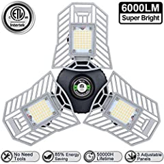 √ 【Attention!!!】Please make sure you ordered products from Amiluo Life brand.! Bright As You Need 3 ULTRA-BRIGHT flex led garage led lighting, 6000lm CRI80+ brightness with 144LEDS in 6000k daylight , making tripleglow led light brighter than common ...