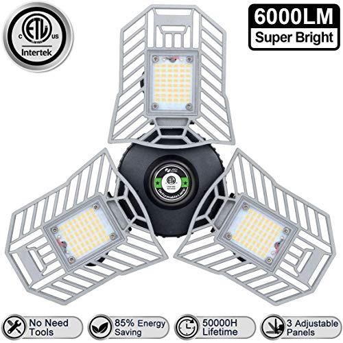 LED Garage Lights 6000 Lm Flexed LED Garage Light Bulbs 60W CRI 80 Three Leaf Garage Light Deformable for Garage Adjustable Panels Tribright Led Garage Lighting Basement Garage Lights(NO Sensor)
