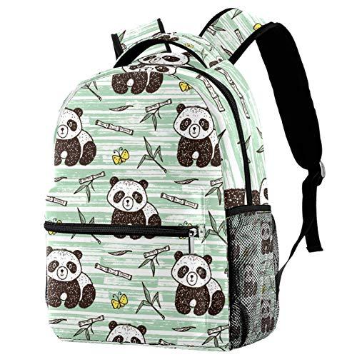 LAZEN Mochila informal Mochila de colegio y escuela secundaria Senderismo Camping Mochila Panda Mariposa Bambú