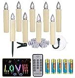 10 Stück LED Kerzen Dimmbar Warmweiß+RGB Bunt Licht, Timer, Wasserdichte Stimmungslichter Fenster Beleuchtung Weihnachtskerzen für Zimmer Weihnachtsbaum Garten Innen Außen Deko