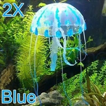 Pakhuis 2X Glowing K/ünstliche Silikon Vivid Quallen f/ür Aquarium BLUE