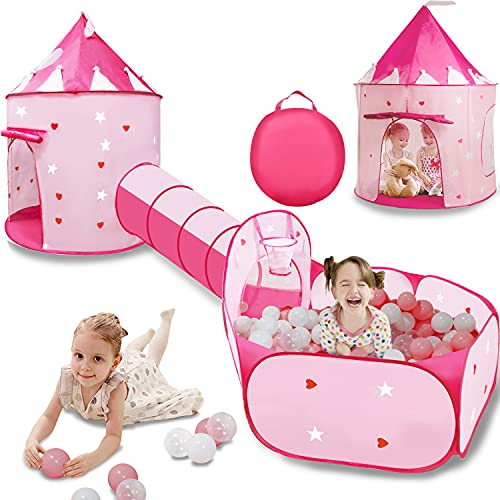 VOJUEAR 3pc Kids Play Tent for Girls with Ball Pit, Crawl Tunnel, Princess Tents for Toddlers, Gift for Girls Indoor & Outdoor Play (Pink)
