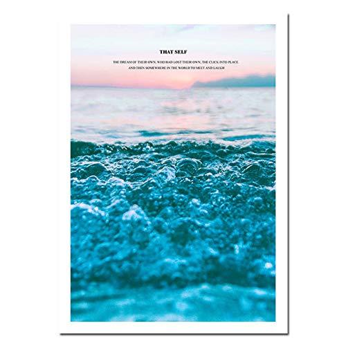 Mar Nórdico Océano Lienzo Arte de la Pared Cartel Paisaje Naturaleza Impresión Pintura Minimalista Escandinavo Decorativo Imagen Decoración de la habitación (Sin Marco)