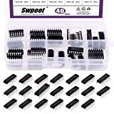 Swpeet 40Pcs 20 Different Types 74HCxx and 74LSxx Series Logic IC Assortment Kit with Container, Low-Power Schottky Logic IC Series Shift Output Registers IC chip for IC Chip Work