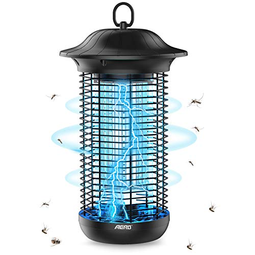 Aerb Bug Zapper, 4000V Powerful Mosquito Zappers with Metal Housing, Outdoor Rainproof Insect Killer, Mosquito lamp, Light-Emitting Flying Insect Trap for Indoor Outdoor (MO-003 Black)