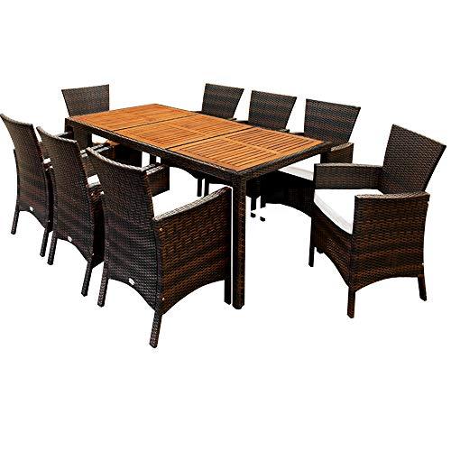 Deuba Poly Rattan Sitzgruppe Garten 8 Breite Stühle 7cm Auflagen Gartentisch Akazie Holz 8 Personen Gartenmöbel Set Braun - 2
